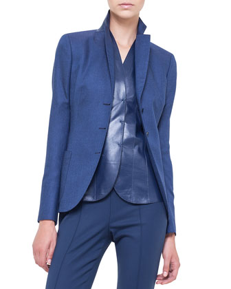 Cashmere-Blend Gabardine Blazer, V-Neck Leather Top & Melissa Slim-Fit ...