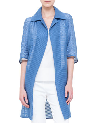 Organza Tonal-Striped Raglan Long Jacket, Chefchaouen