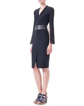 Slit-Sleeve Leather-Trimmed Dress, Black