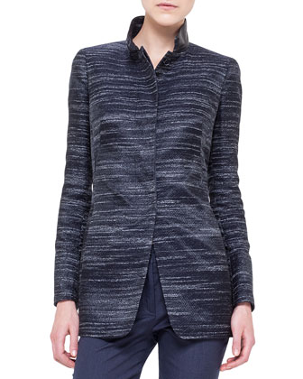 Leather-Trimmed Stand Collar Jacket, Black