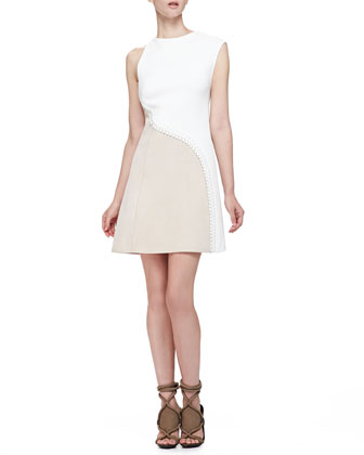 Suede/Crepe Asymmetric Stitched Dress