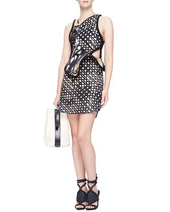 Mesh-Print Structured-Overlay Dress