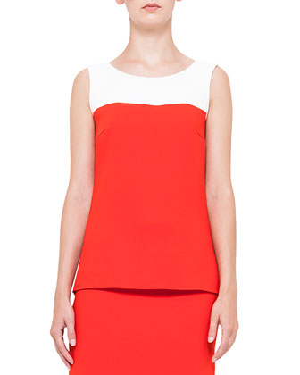 Colorblock Shirttail Tank Top & Front-Pocket Short Skirt, Rouge/Creme