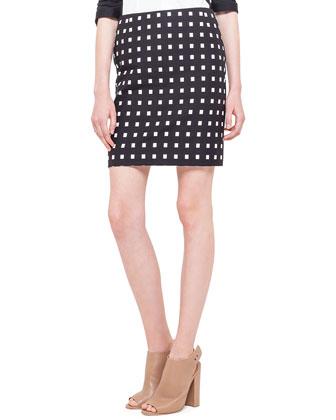 Colorblock Panel-Sleeve Blouse & Square Dotted Jacquard Short Skirt