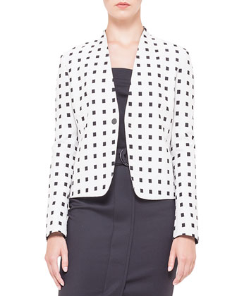 Square Dotted Jacquard Jacket, Square-Neck Half-Sleeve Jersey Top & Belted ...