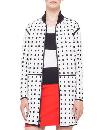 Reversible Square Jacquard Coat, Short-Sleeve Bold-Striped Wool Sweater & ...
