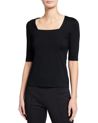 Square-Neck Half-Sleeve Jersey Top, Black