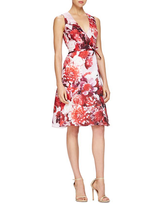 Floral-Print Tie-Waist Cocktail Dress
