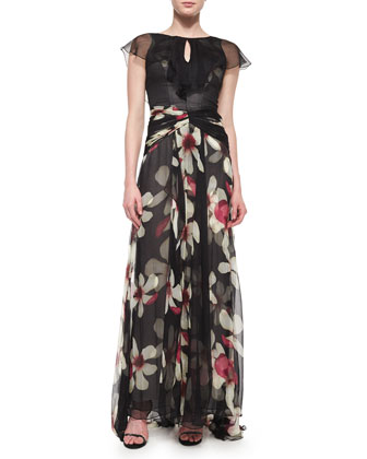 Magnolia-Print Flutter-Sleeve Gown