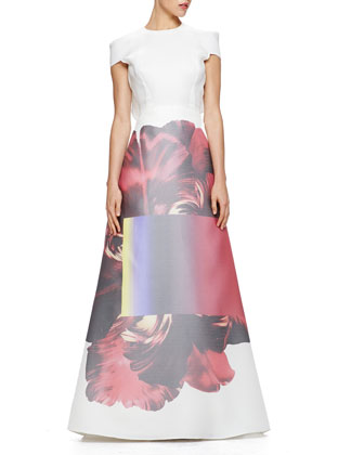 Printed-Skirt Ruffled Gazar Gown