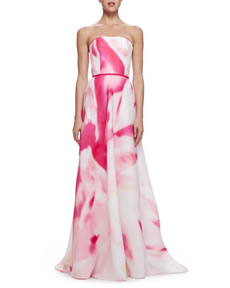 Watercolor-Print Strapless Gown
