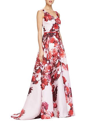 Sleeveless Floral-Print V-Neck Gown