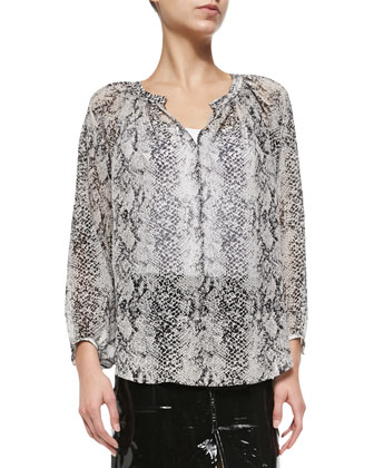 Snake-Print Silk Peasant Blouse, Dark Gray