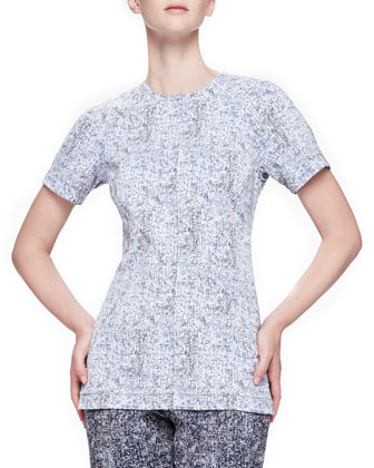 Reversible Short-Sleeve Tweed Top