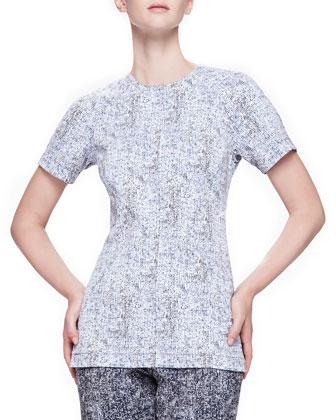 Reversible Short-Sleeve Tweed Top