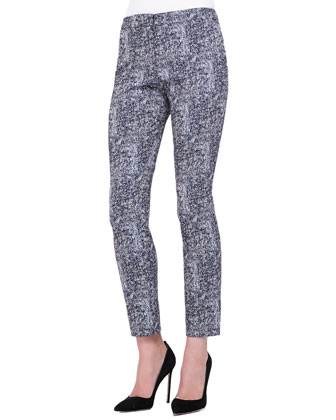 Caroline Tweed-Pattern Cropped Pants