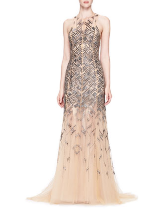 Bead-Embroidered Chiffon Gown