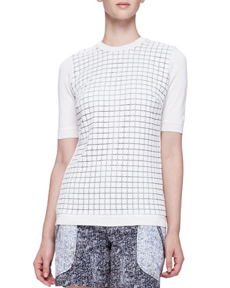 Tile-Knit Short-Sleeve Top, Ivory