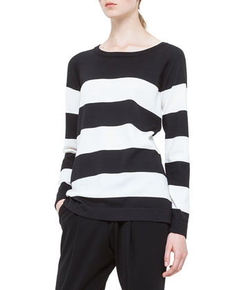 Bold-Striped Wool Sweater, Noir/Creme