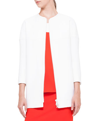 Two-Way Zip Cardigan, Creme