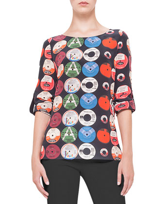 Record-Print Tab-Sleeve Silk Blouse