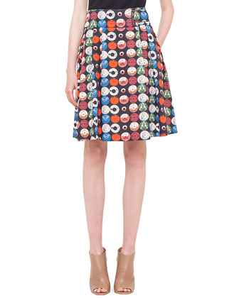Scoop-Back Jersey Top & Box-Pleated Record-Print Skirt