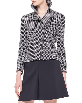 Circle-Jacquard Moto Jacket, Square-Neck Half-Sleeve Jersey Top & Godet ...