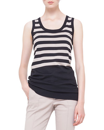 Striped Long Tank Sweater, Noir/Corde