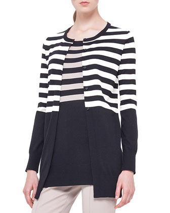 Striped Long Boyfriend Cardigan, Noir/Corde
