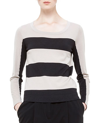 Bold-Stripe Wool Sweater, Noir/Corde
