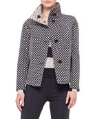 Reversible Stand-Collar Polka-Dot Jacket