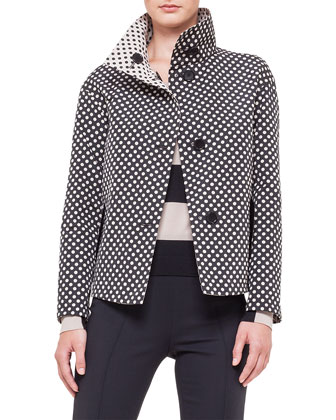 Reversible Stand-Collar Polka-Dot Jacket, Bold-Stripe Wool Sweater & Ankle ...