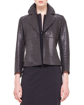 Perforated Napa Leather Jacket & Cap-Sleeve Zip-Front Seamed Dress