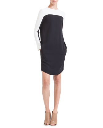 Colorblock Jersey Shirtdress, Noir/Creme