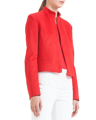 Mandarin-Collar Wool Zip Jacket, Rouge