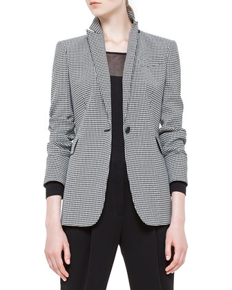 Mini-Checked Single-Button Blazer, Sheer-Inset Wool Sweater & Mimi ...