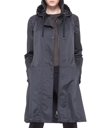 Hooded Drawstring Techno Long Parka, Noir