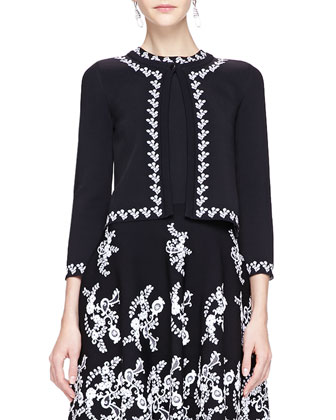 Floral-Trim Cardigan & Jewel-Neck Floral Embroidered Dress