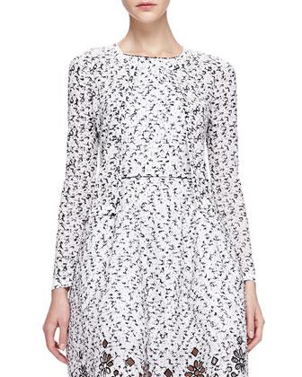 Jewel Neck Cropped Cardigan & Speckled Eyelash Tweed Dress with Eyelet Hem ...
