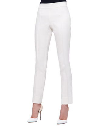 Front-Seam Slim Pants, Ivory