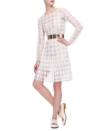 Long-Sleeve Lace Dress with Slip & Golden Cutout Belt