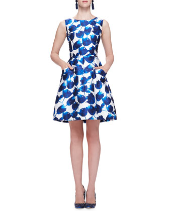 Tulip-Print Dress with Pockets, Cobalt