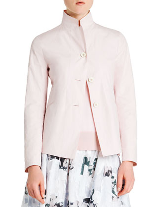 Reversible Tech/Cotton Three-Button Jacket, Ribbed-Trim Short-Sleeve ...