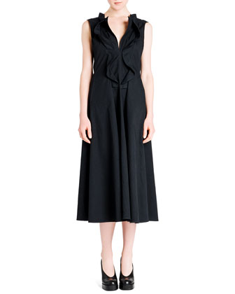 Cascade Ruffle-Front Cotton Gabardine Dress