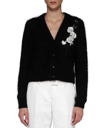 Cashmere Cardigan with Orchid Applique & Cropped Straight-Leg Twill Pants
