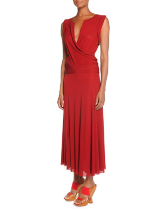 Drape-Front Drop-Waist Dress, Brick Red