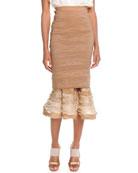 Slim Skirt with Ruffle Hem