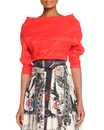 Organza Elbow-Sleeve Top, Street Art Printed Pleated Skirt & Hand-Painted ...