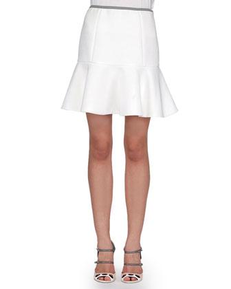 Shearling Dotted Perforated Baseball Jacket & Deep Flounce Poplin Skirt, White