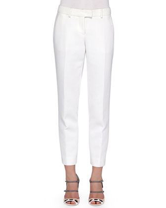 FENDI Cropped Straight-Leg Twill Pants